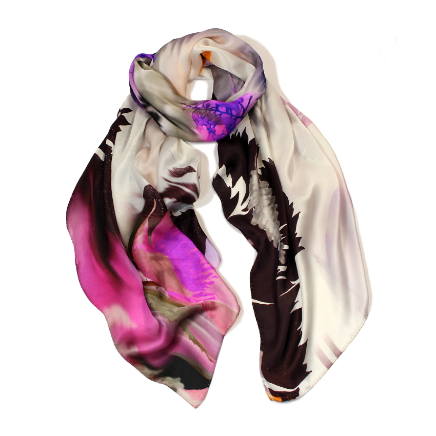 women - SCARVES AND LONG SCARVES - 70X180 SILK Natura Viola