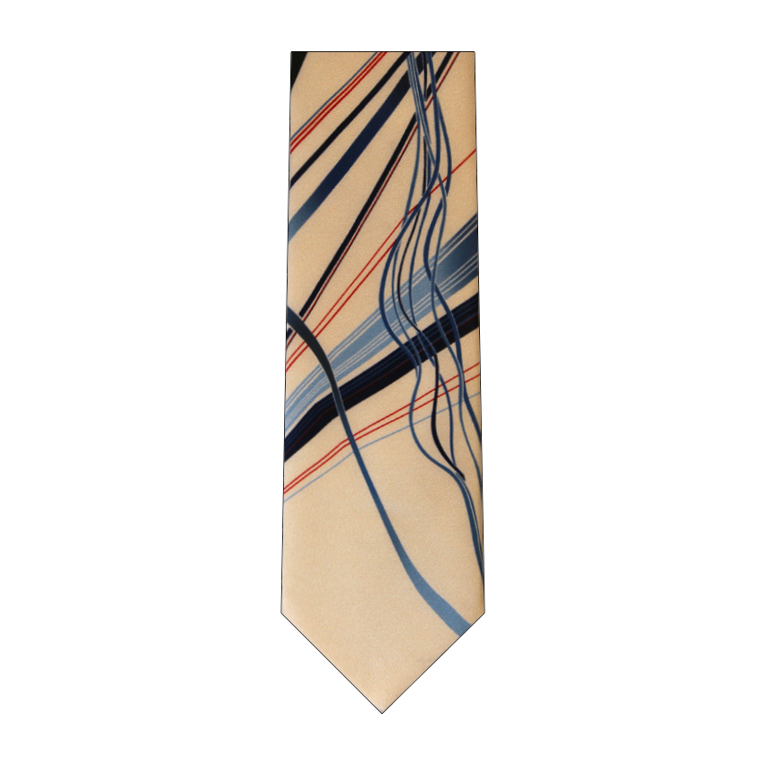 men - TIES - Printed Orlando Blu Panna