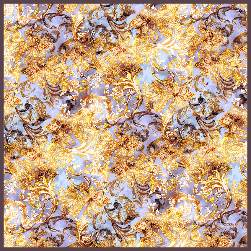 women - SQUARES - 140X140 SILK Ramage Fiorentino Marrone