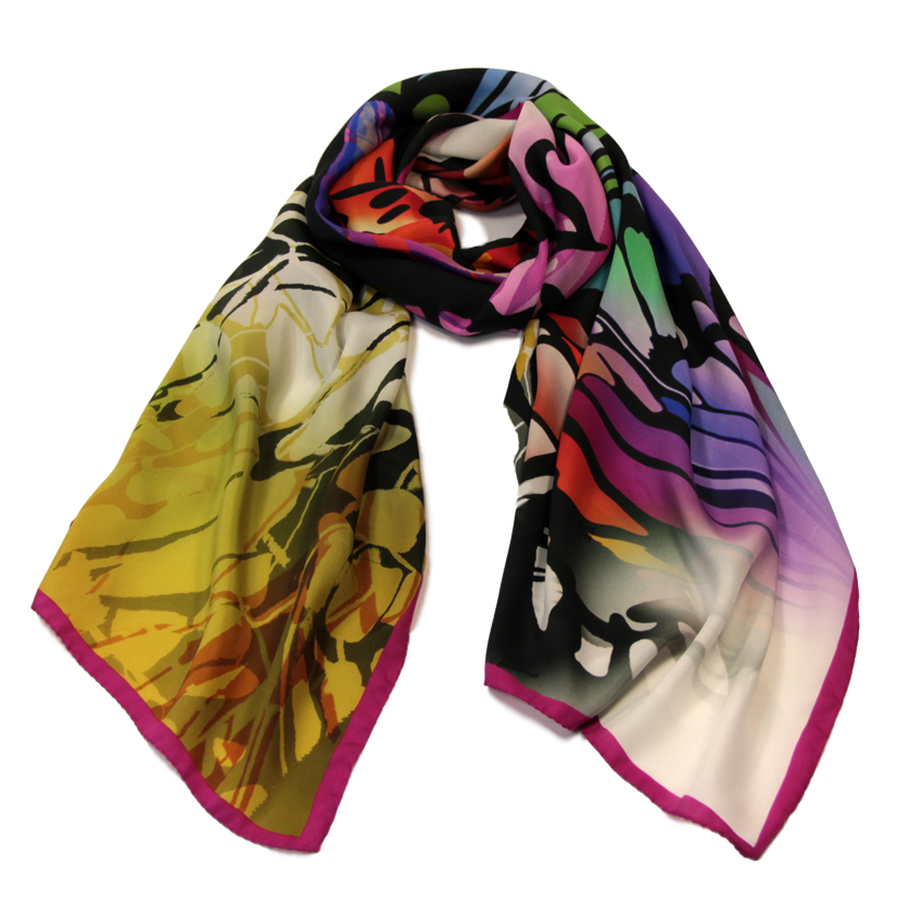 women - SCARVES AND LONG SCARVES - 70x180 Silk Crepe Sfarfallare Fucsia