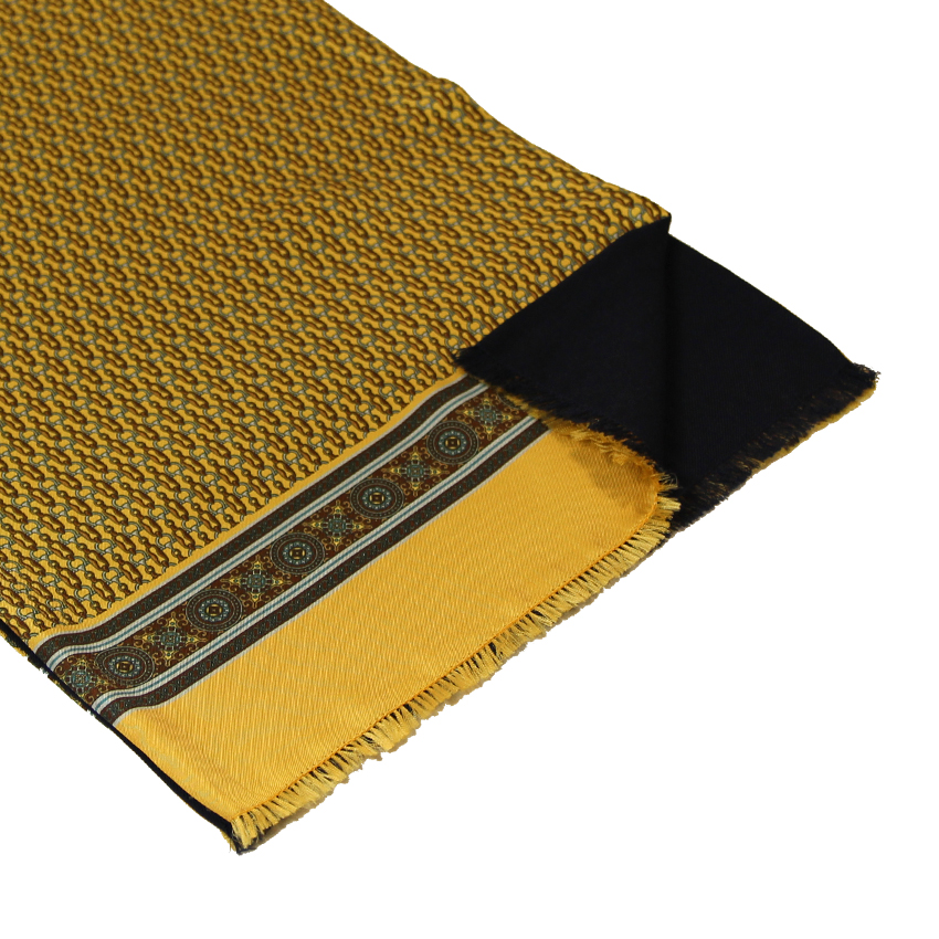 men - SCARVES - Silk lined in wool Tiepolo Giallo