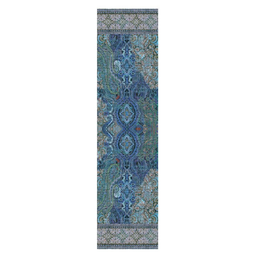 women - SCARVES AND LONG SCARVES - 45x180 Silk Turandot Blu