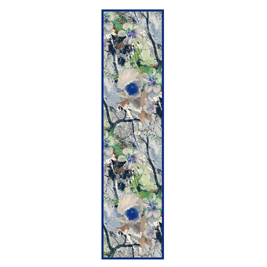 women - SCARVES AND LONG SCARVES - 45x180 Silk Valchiria Blu